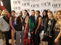 Designer, Victor Sanchez, stands along side models and The Rose Carpet Media Groups own, Kelaiah Rose at OFW 2018.
