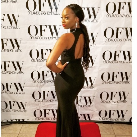 Kelaiah Rose on the red carpet of Orlando Fashion Week