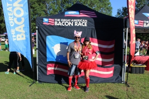 The Great American Bacon Race participants came for a party with their festive attire.